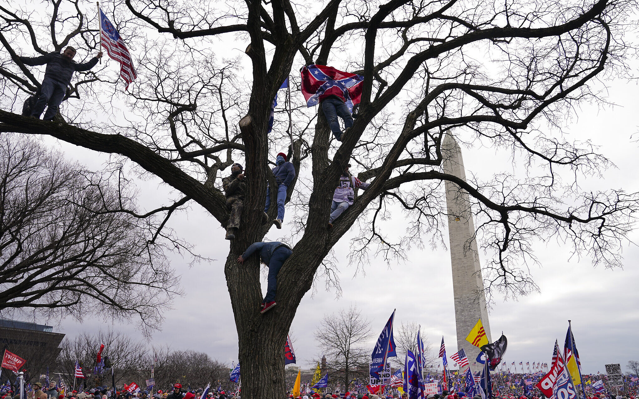 Supporters of US President Donald Trump participate in a rally in Washington