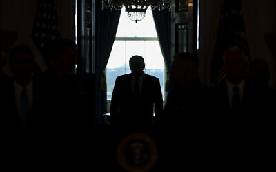 US President Donald Trump arrives to address the nation from the White House on the ballistic missile strike that Iran launched against Iraqi air bases housing US troops in Washington, January 8, 2020. (AP Photo/ Evan Vucci)