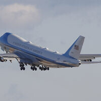 Air Force One with US President Donald Trump and the first family on board, departs Andrews Air Force Base, Maryland, January 20, 2021.(Luis M. Alvarez/AP)