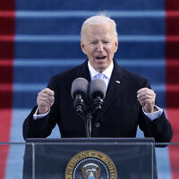 President Joe Biden gives his inaugural address during the 59th Presidential Inauguration at the US Capitol in Washington, Wednesday, Jan. 20, 2021.(AP Photo/Patrick Semansky, Pool)