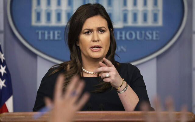 Then White House press secretary Sarah Sanders speaks during a news briefing at the White House, in Washington, March 11, 2019. (Evan Vucci/AP)