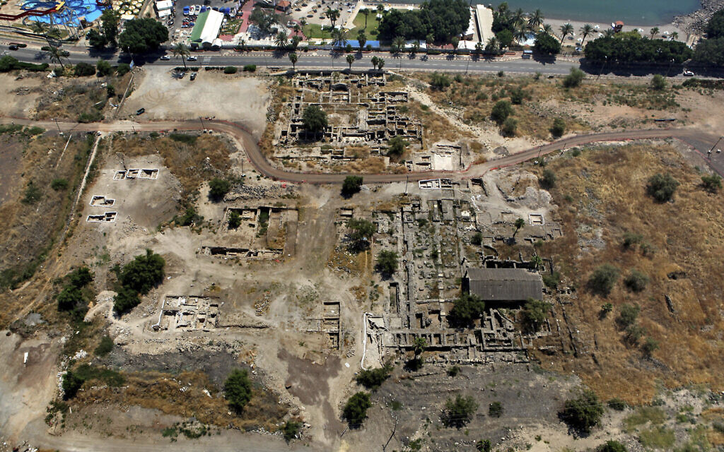This 2014 aerial photo shows the site of the Al-Juma (Friday) Mosque in Tiberias, northern Israel. (NTEP/ David Silverman and Yuval Nadel via AP)