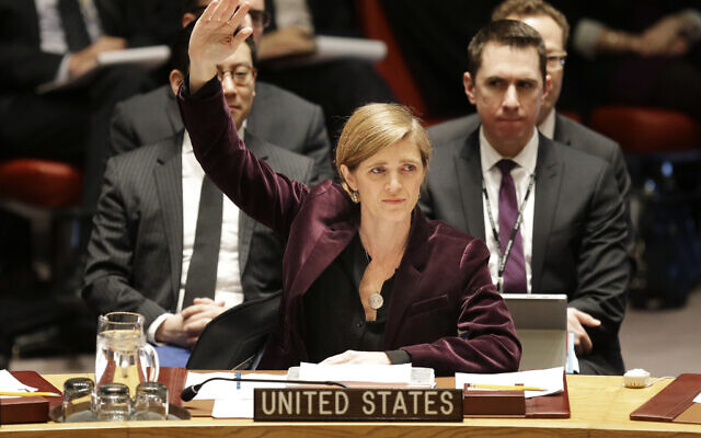 United States ambassador to the United Nations Samantha Power votes on a resolution during a Security Council meeting at UN headquarters, Wednesday, March 2, 2016.  (AP Photo/Seth Wenig)