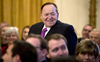 In this Nov. 16, 2018, file photo, Las Vegas Sands Corporation Chief Executive and Republican mega donor Sheldon Adelson, stands as he is recognized by President Donald Trump during a Medal of Freedom ceremony in the East Room of the White House in Washington.  (AP Photo/Andrew Harnik, File)