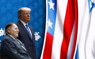 US President Donald Trump alongside Las Vegas Sands Corporation Chief Executive and Republican mega donor Sheldon Adelson before speaking at the Israeli American Council National Summit in Hollywood, Florida, December 7, 2019. (AP Photo/Patrick Semansky)