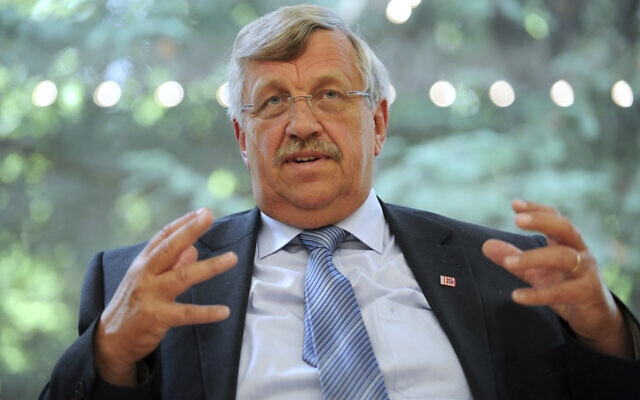 Walter Luebcke, who was in charge of the Kassel area regional administration, talks to media in Kassel, Germany, June 25, 2012. (Uwe Zucch/dpa via AP, file)