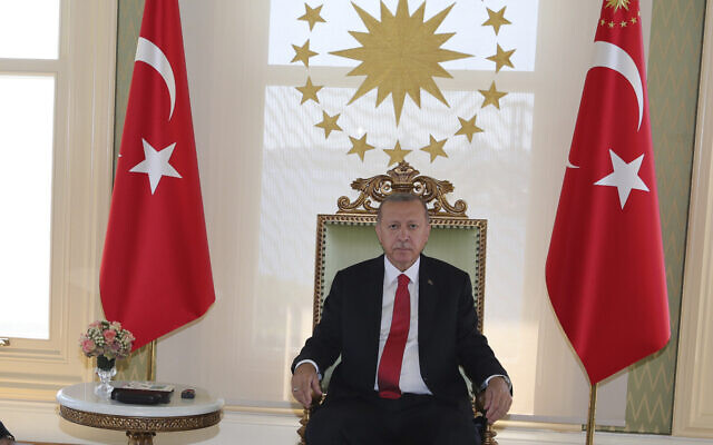 Turkey's President Recep Tayyip Erdogan, right in Istanbul on Wednesday, August 5, 2020. (Turkish Presidency via AP, Pool)