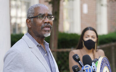 US Rep. Gregory Meeks speaks during a news conference outside the USPS Jamaica station, August 18, 2020, in the Queens borough of New York. (AP Photo/John Minchillo)