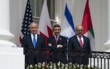 Prime Minister Benjamin Netanyahu, left; United Arab Emirates Foreign Minister Abdullah bin Zayed al-Nahyan; and Bahrain Foreign Minister Khalid bin Ahmed Al Khalifa; at the White House, Sept. 15, 2020. (AP Photo/Alex Brandon)