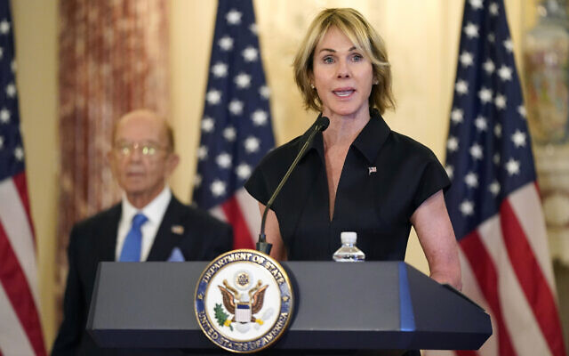 U.S. Ambassador to the United Nations Kelly Craft speaks during a news conference at the US State Department in Washington, Sept. 21, 2020. (Patrick Semansky/AP)