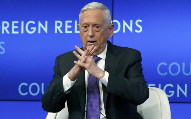 In this Sept. 3, 2019, file photo, former Defense Secretary Jim Mattis speaks at the Council on Foreign Relations, in New York (AP Photo/Richard Drew, File)