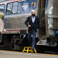 Democratic presidential candidate former Vice President Joe Biden and Jill Biden arrive to speak at Amtrak's Pittsburgh Train Station, September 30, 2020, in Pittsburgh. (AP Photo/Andrew Harnik)