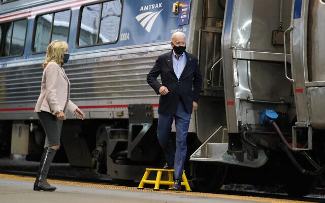 Democratic presidential candidate former Vice President Joe Biden and Jill Biden arrive to speak at Amtrak's Pittsburgh Train Station, September 30, 2020, in Pittsburgh. (AP Photo/Andrew Harnik)
