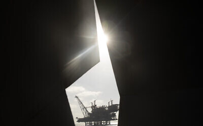 Israel's offshore Leviathan gas field is seen from on board the Israeli Navy ship Lahav on September 29, 2020. (AP /Ariel Schalit)