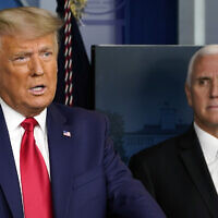 President Donald Trump speaks in the press briefing room as Vice President Mike Pence listens Tuesday, Nov. 24, 2020, in Washington. (AP Photo/Susan Walsh)