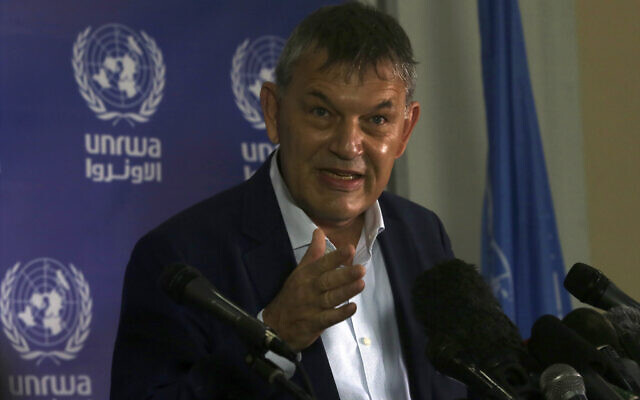 UNRWA's Commissioner-General Philippe Lazzarini, speaks during a press conference at the UNRWA headquarters in Gaza City, Nov. 26, 2020. (AP Photo/Adel Hana)