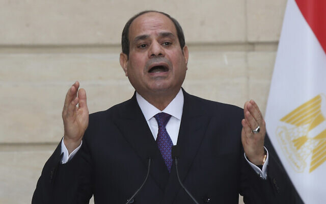 Egyptian President Abdel-Fattah el-Sissi speaks during a joint press conference with French President Emmanuel Macron, not seen at the Elysee palace, in Paris, December 7, 2020. (Michel Euler/AP)