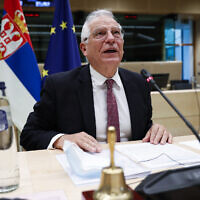 European Union foreign policy chief Josep Borrell speaks during an EU-Serbia videoconference council at the European Council headquarters in Brussels, December 17, 2020. (Francisco Seco/AP)