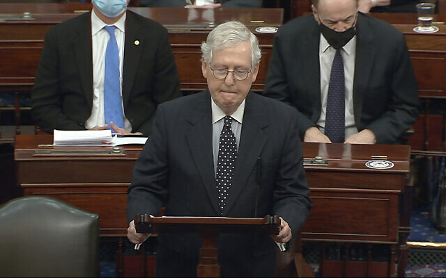 In this image from video, US Senate Majority Leader Mitch McConnell speaks as the Senate reconvenes after protesters stormed into the US Capitol on Wednesday, Jan. 6, 2021. (Senate Television via AP)