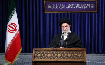 In this picture released by an official website of the office of the Iranian supreme leader, Supreme Leader Ayatollah Ali Khamenei addresses the nation in a televised speech in Tehran, Iran, Friday, Jan. 8, 2021. in Tehran, Iran. (Office of the Iranian Supreme Leader via AP)