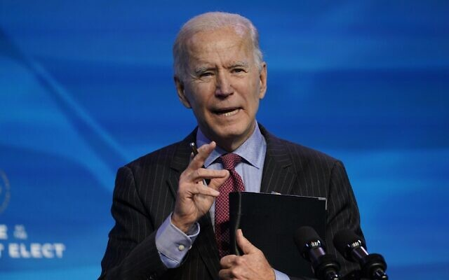 US President-elect Joe Biden speaks during an event at The Queen theater in Wilmington, Del., Friday, Jan. 8, 2021, to announce key administration posts. (AP Photo/Susan Walsh)