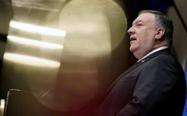 US Secretary of State Mike Pompeo speaks at the National Press Club in Washington, January 12, 2021. (Andrew Harnik/AP)