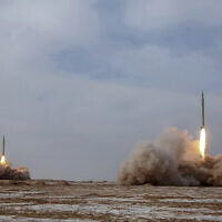 In this photo released Jan. 16, 2021, by the Iranian Revolutionary Guard, missiles are launched in a drill in Iran (Iranian Revolutionary Guard/Sepahnews via AP)