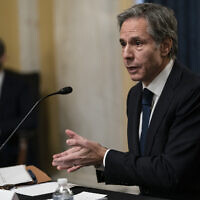 US Secretary of State nominee Tony Blinken testifies during his confirmation hearing before the Senate Foreign Relations Committee on Capitol Hill in Washington, January 19, 2021. (Alex Edelman/Pool via AP)