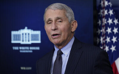In this Jan. 21, 2021, photo, Dr. Anthony Fauci, director of the National Institute of Allergy and Infectious Diseases, speaks with reporters in the James Brady Press Briefing Room at the White House in Washington.  (AP Photo/Alex Brandon)