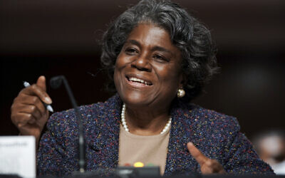 United States Ambassador to the United Nations nominee Linda Thomas-Greenfield testifies during for her confirmation hearing before the Senate Foreign Relations Committee on Capitol Hill on Jan. 27, 2021, in Washington. (Greg Nash/Pool via AP)