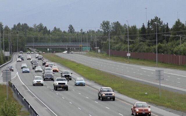 ILLUSTRATIVE -- This photo taken  June 25, 2015, shows inbound morning rush hour traffic on the Glenn Highway from the Bragaw Street overpass in Anchorage, Alaska (AP Photo/Mark Thiessen)