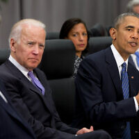 US President Barack Obama, accompanied by, from left, Secretary of State John Kerry, Vice President Joe Biden, and National Security Adviser Susan Rice, speaks during a meeting with Chinese President Xi Jinping at the Nuclear Security Summit in Washington on March 31, 2016.  (AP/Jacquelyn Martin)