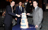 New York Observer publisher Jared Kushner, center, and CEO Joseph Meyer, left, and editor Ken Kurson attend The New York Observer's 25th anniversary party at The Four Seasons Restaurant on Thursday March 14, 2013 in New York. (Photo by Evan Agostini/Invision/AP)