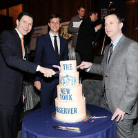New York Observer publisher Jared Kushner, center, CEO Joseph Meyer, left, and editor Ken Kurson attend The New York Observer's 25th anniversary party at The Four Seasons Restaurant on March 14, 2013 in New York. (Photo by Evan Agostini/Invision/AP)