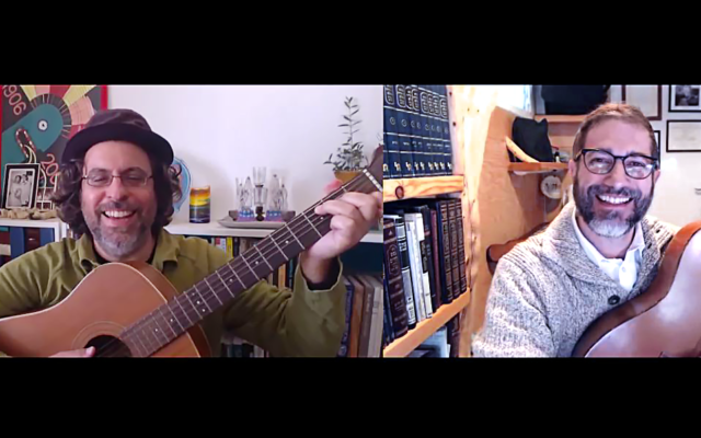 Amihai Zippor, left, and Shimshon Meir Frankel of the Bar Papas band, which released its debut album in 2020 after 20 years together (Courtesy Bar Papas)