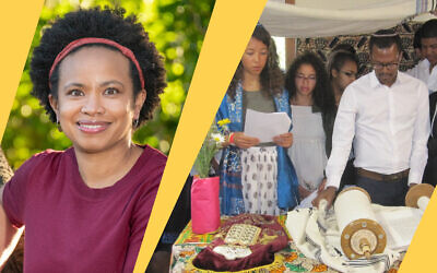 Left: Marcella White Campbell, the new executive director of Be'chol Lashon; Right: A Shabbat service at Camp Be'chol Lashon in 2016 led by Ethiopian Israeli, Maor Sanbata and campers. (Both photos courtesy of Be'chol Lashon/ via JTA)