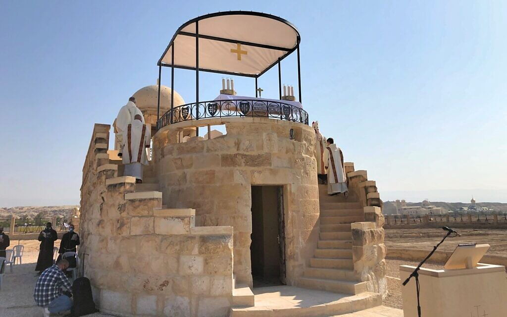 Franciscan St John the Baptist Chapel on the banks of the Jordan River, January 10, 2021. (Amanda Borschel-Dan/Times of Israel)