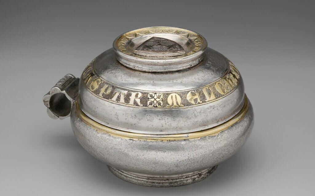 Double Cup, 1325–50, German or Bohemian, featuring an inscription with the names of the Three Wise Men and a Jewish coat of arms. (Metropolitan Museum of Art)