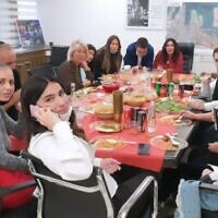 Miri Regev, in back center, at an office event on January 12, 2021. (Courtesy: Israel Frey/DemocratTV)