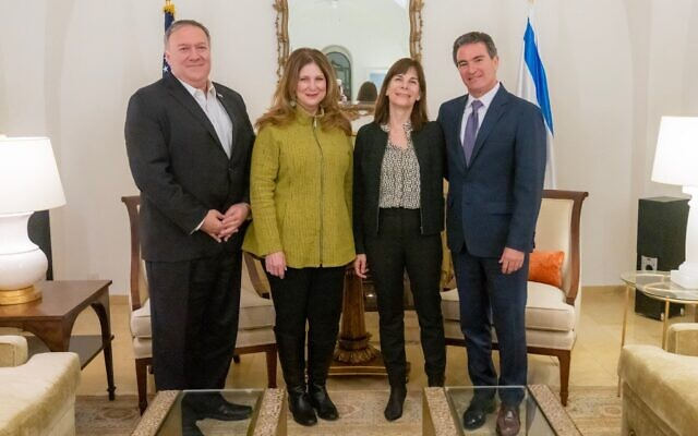 (L-R) Secretary of State Mike Pompeo, Susan Pompeo, Aya Cohen and Mossad chief Yossi Cohen, January 15, 2021. (State Department/Twitter)