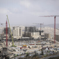 View of the construction of the then new Palestinian city of Rawabi, on February 23, 2014. (Hadas Parush/Flash 90/File)