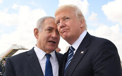 US President Donald Trump (right) with Israeli Prime Minister Benjamin Netanyahu prior to Trump's departure to Rome at the Ben Gurion International Airport in Tel Aviv on May 23, 2017. (Kobi Gideon / GPO via Flash90)