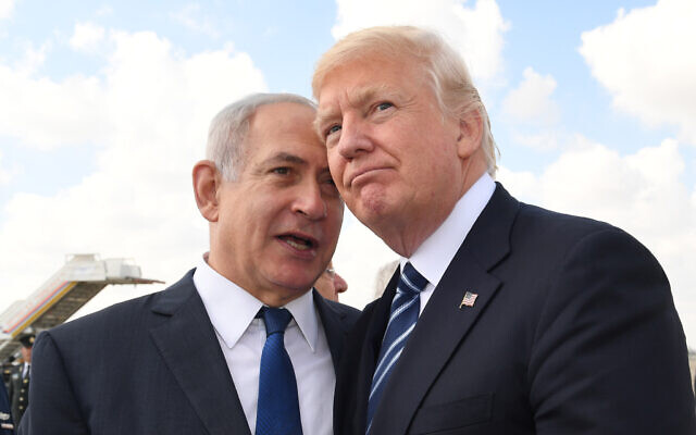 US President Donald Trump (right) with Israeli Prime Minister Benjamin Netanyahu prior to Trump's departure to Rome at the Ben Gurion International Airport in Tel Aviv on May 23, 2017. (Kobi Gideon / GPO via Flash90)