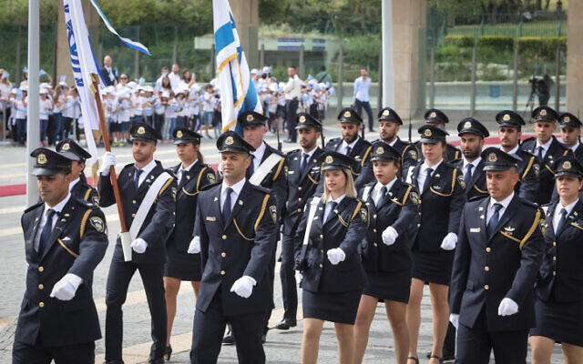 The Knesset Guard marches during the opening session of the new Knesset, following elections, on April 30, 2019. (Noam Revkin Fenton/Flash90)
