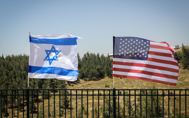 The Israeli and the American flags are seen during a visit of Ron DeSantis, governor of Florida, in Gush Etzion, on May 29, 2019. (Gershon Elinson/Flash90)