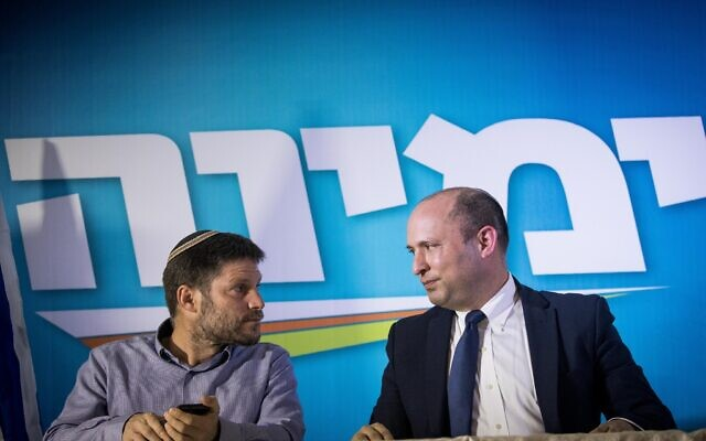 Naftali Bennett (R) and Bezalel Smotrich of the right-wing Yamina party hold a press conference in Jerusalem on May 14, 2020. (Yonatan Sindel/Flash90)