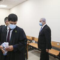 The start of the trial against Prime Minister Benjamin Netanyahu at the Jerusalem District Court, May 24, 2020. (Amit Shabi/POOL)