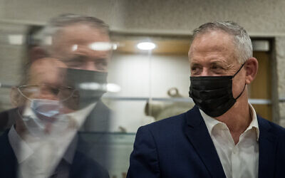 Alternate Prime Minister and Minister of Defense Benny Gantz visits at the Jerusalem Municipality on November 10, 2020. (Yonatan Sindel/Flash90)