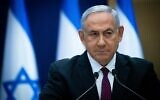 Prime Minister Benjamin Netanyahu gives a statement to the media in the Knesset in Jerusalem, on November 2, 2020. (Yonatan Sindel/Flash90)