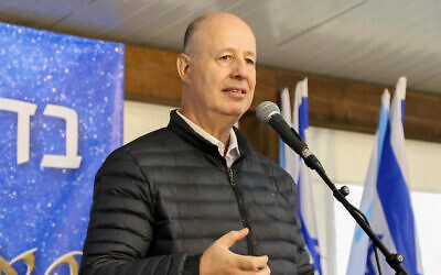 Settlement Affairs Minister Tzachi Hanegbi in Gush Etzion in the West Bank, December 24, 2020. (Gershon Elinson/Flash90)